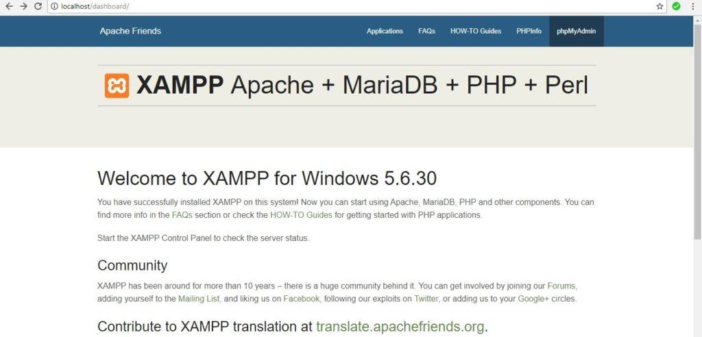 xampp home page
