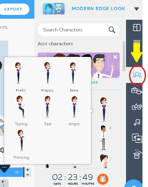 characters-how to use powtoon